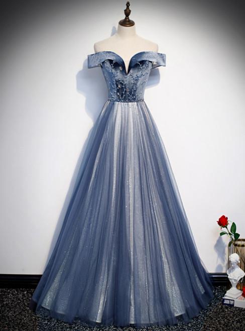 Blue Tulle Velvet Off the Shoulder Beading Prom Dress