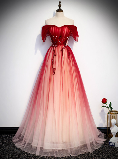 Princess Red Tulle Off the Shoulder Beading Prom Dress