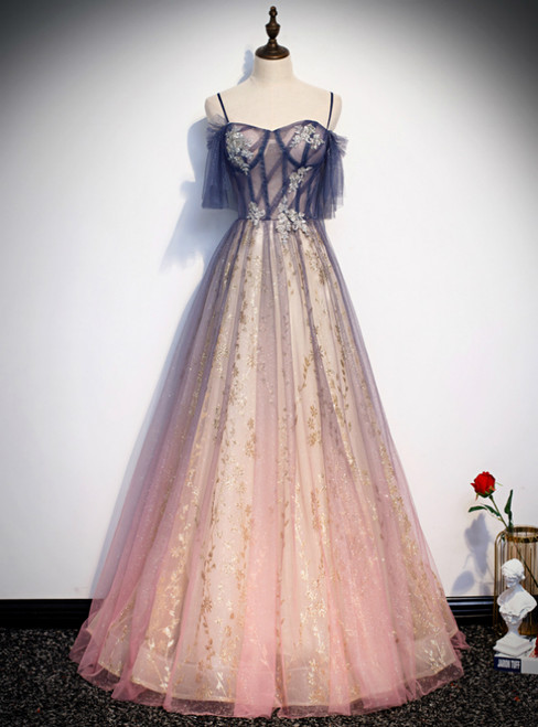 Pink Tulle Sequins Spaghetti Straps Appliques Prom Dress
