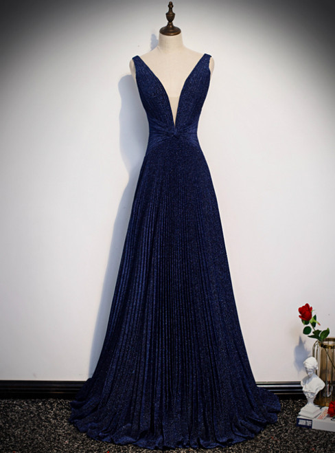 Navy Blue Deep V-neck Backless Pleats Prom Dress