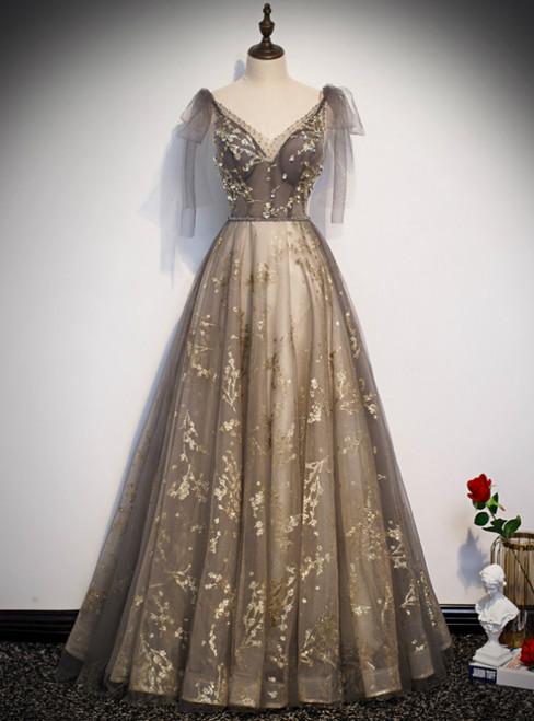 Champagne Tulle Sequins V-neck Beading Prom Dress