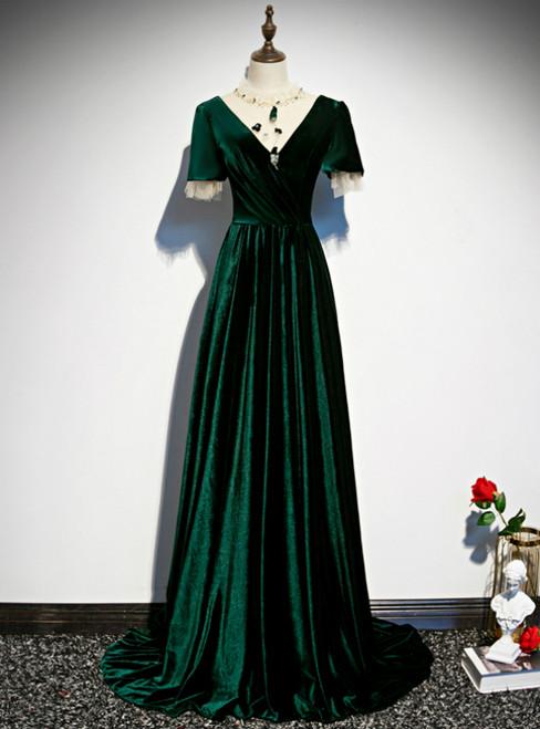 Dark Green Velvet Short Sleeve Open Back Beading Prom Dress