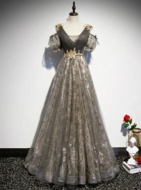 Gray Tulle Sequins V-neck Pleats Beading Prom Dress