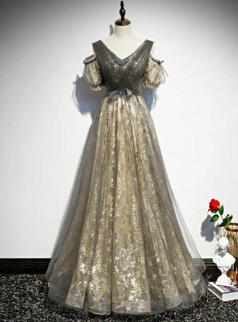 Gray Gold Tulle Sequins V-neck Short Sleeve Pleats Prom Dress