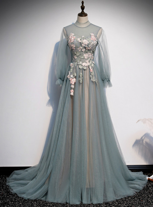 Blue Tulle Long Sleeve Appliques High Neck Prom Dress