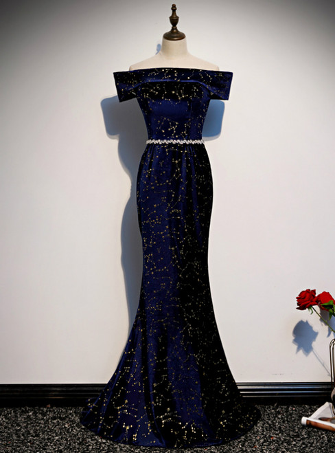 Navy Blue Mermaid Velvet Off the Shoulder Beading Prom Dress