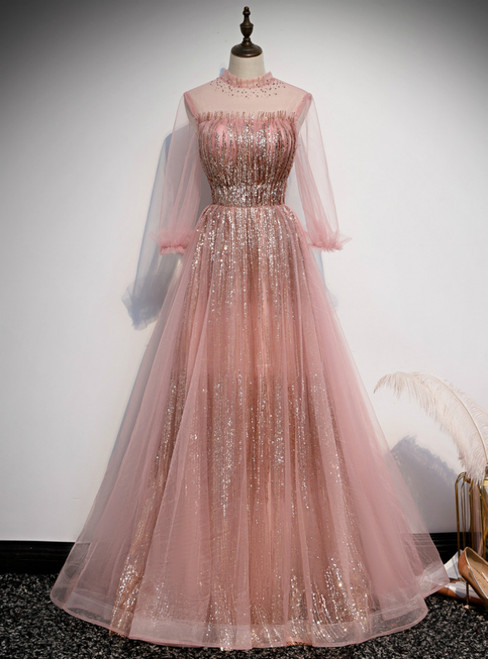 Pink Tulle Sequins Long Sleeve Backless Prom Dress