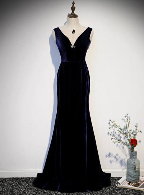 Navy Blue Mermaid Velvet See Through V-neck Prom Dress