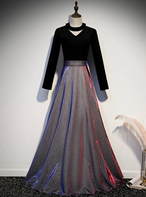 A-Line Black Long Sleeve Velvet Prom Dress
