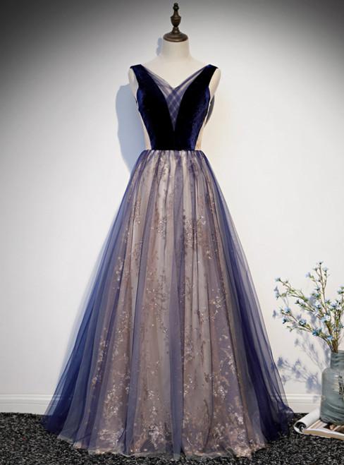 Navy Blue Tulle Sequins Velvet V-neck Prom Dress