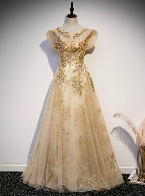 Gold Tulle Sequins Cap Sleeve Scoop Prom Dress