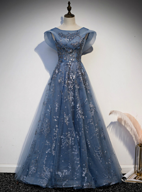 Blue Tulle Sequins Cap Sleeve Scoop Prom Dress