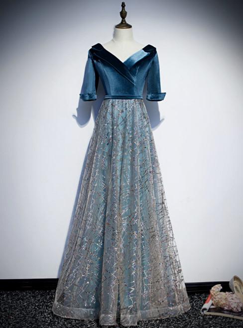 Blue Tulle V-neck Short Sleeve Sequins Prom Dress