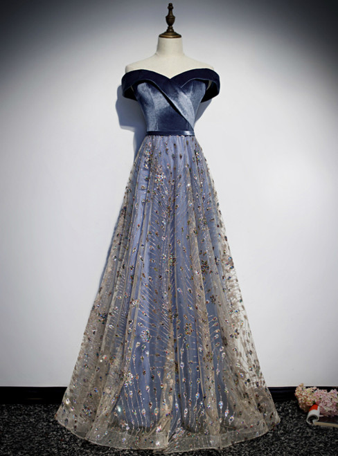 Blue Tulle Sequins Off the Shoulder Prom Dress