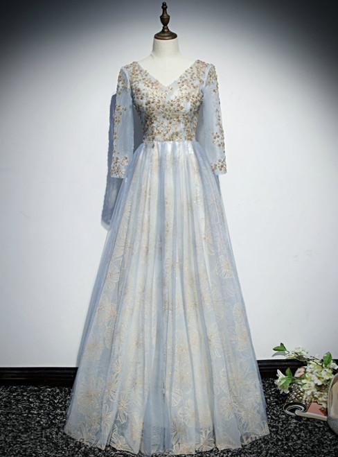 Light Blue Tulle Sequins Long Sleeve Prom Dress