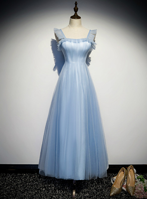 A-Line Blue Tulle Straps Ankle Length Prom Dress