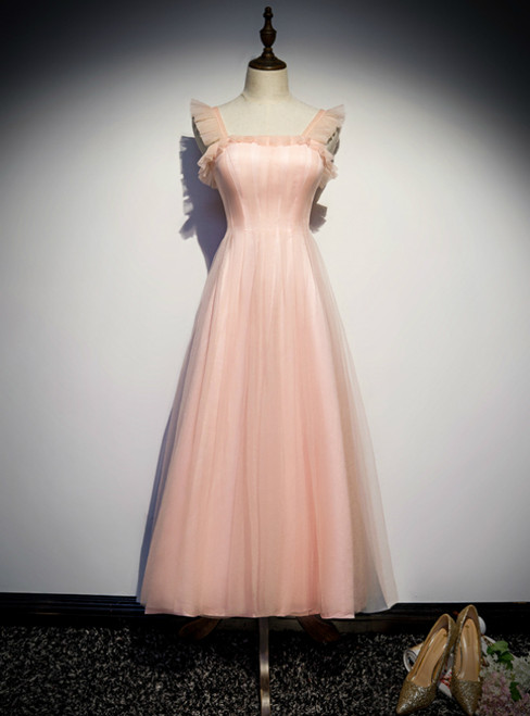 A-Line Pink Tulle Straps Ankle Length Prom Dress