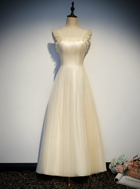 A-Line Champagne Tulle Straps Ankle Length Prom Dress