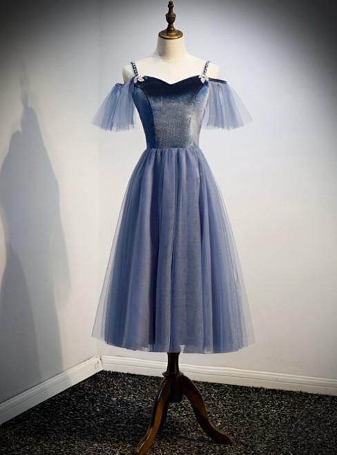 Blue Tulle Spagheti Straps Tea Length Beading Prom Dress