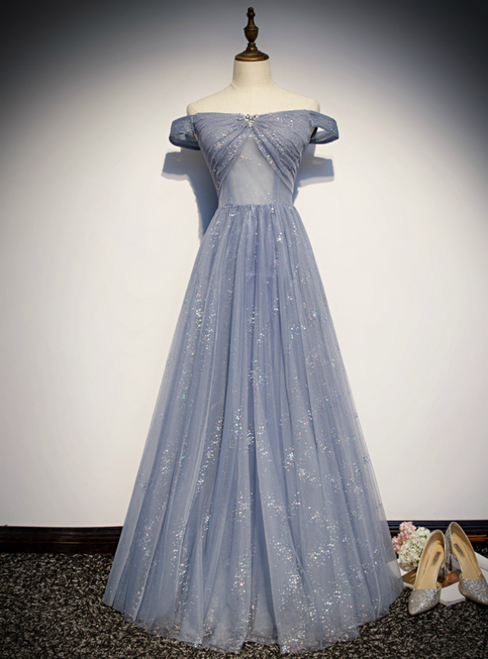 Gray Blue Tulle Sequins Off the Shoulder Beading Crystal Prom Dress