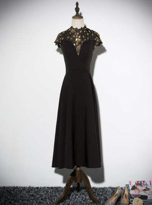 Black Satin Sequins Cap Sleeve High Neck Prom Dress