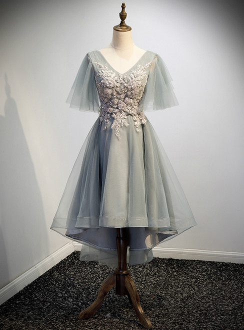 Gray Tulle Hig Lo V-neck Short Sleeve Beading Prom Dress
