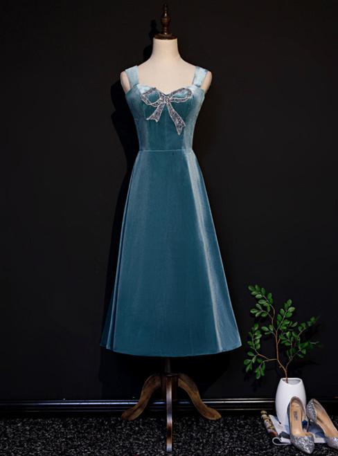 Blue Velvet Straps Beading Tea Length Prom Dress
