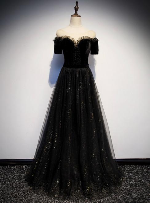Black Tulle Bateau Short Sleeve Beading Prom Dress