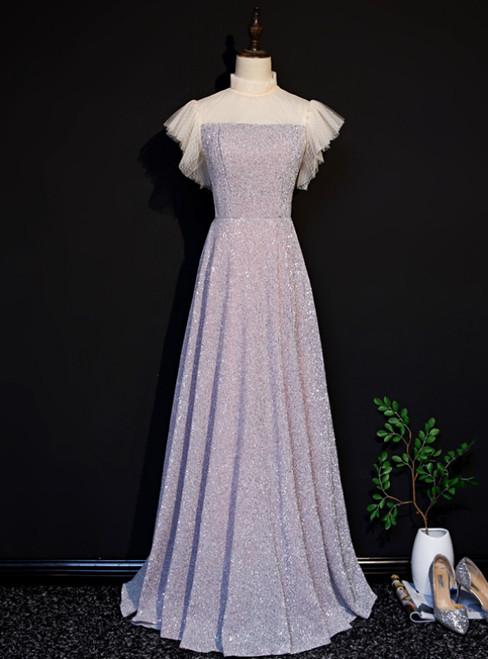 Pink Sequins High Neck Short Sleeve Prom Dress