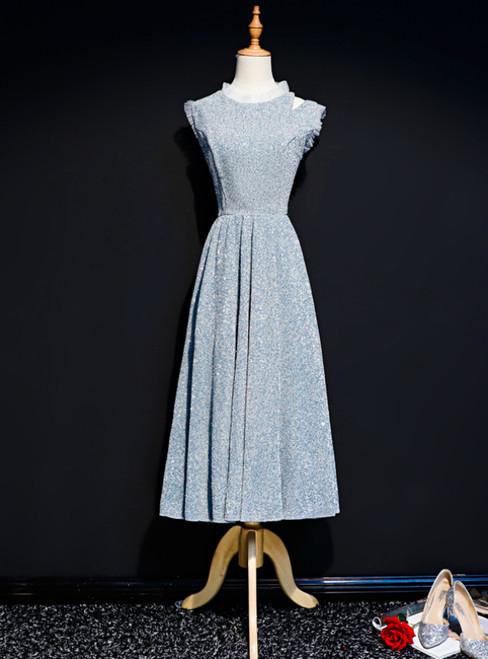 Silver Sequins Scoop Tea Length Prom Dress