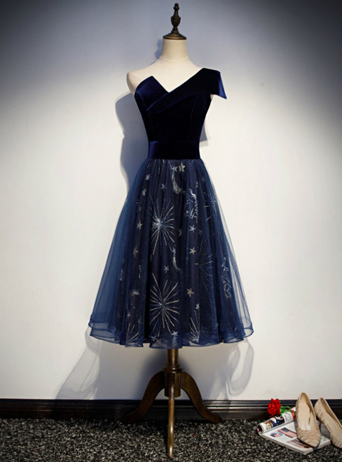 Navy Blue Tulle Velvet One Shoulder Tea Length Prom Dress