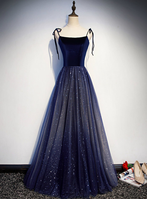 Navy Blue Tulle Spaghetti Straps Sequins Prom Dress