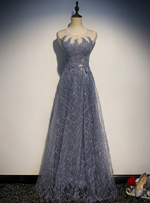Gray Blue Tulle Sequins Appliques Beading Prom Dress