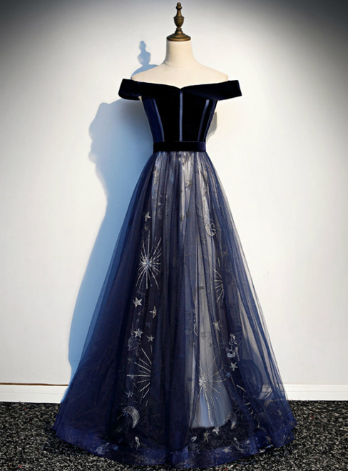 Navy Blue Tulle Velvet Off the Shoulder Prom Dress