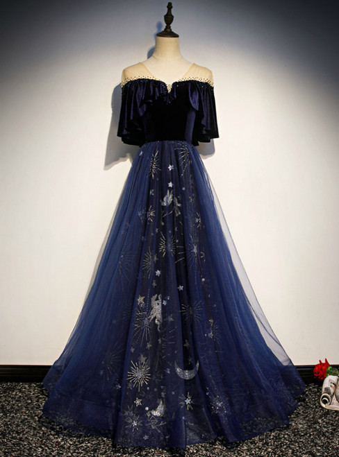 Navy Blue Tulle Velvet Embroidery Short Sleeve Prom Dress