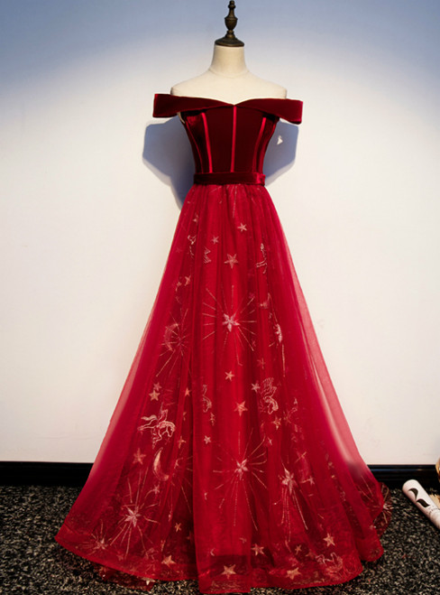 Burgundy Tulle Velvet Off the Shoulder Prom Dress