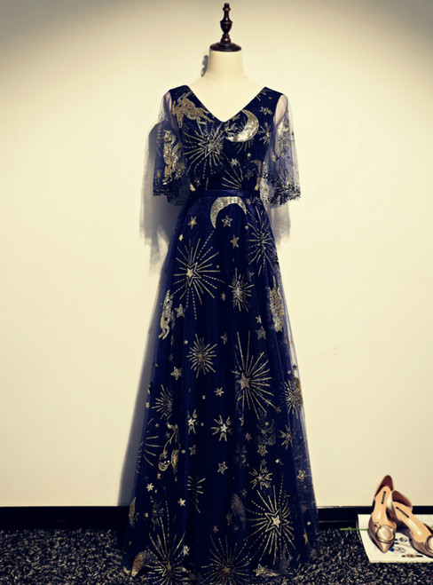 Navy Blue Tulle Sequins V-neck Short Sleeve Prom Dress