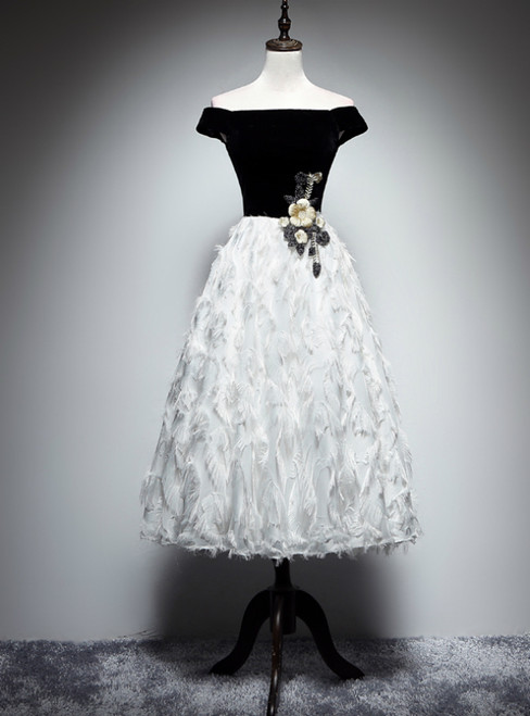 Black White Velvet Off the Shoulder Appliques Prom Dress