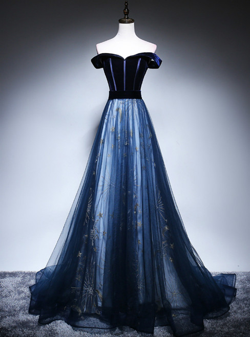 Sexy Navy Blue Tulle Velvet Off the Shoulder Prom Dress