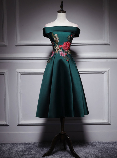 Dark Green Satin Off the Shoulder Appliques Tea Length Prom Dress