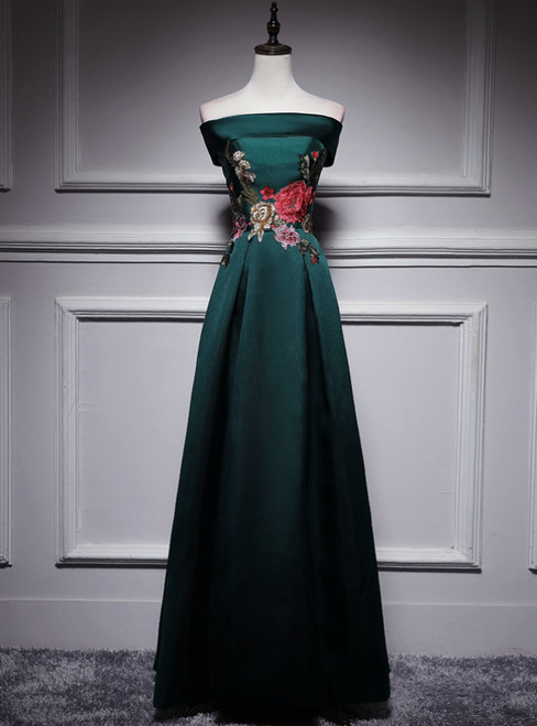 Dark Green Satin Off the Shoulder Appliques Prom Dress