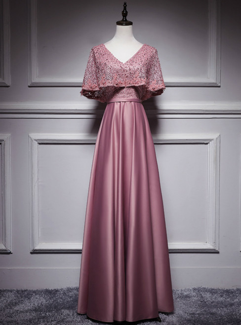 Pink Satin Lace V-neck V-neck Bat Pearls Prom Dress