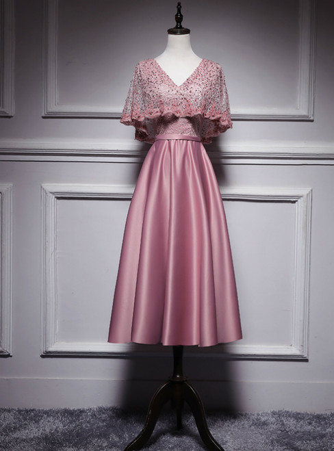 Pink Satin Lace V-neck V-neck Bat Pearls Tea Length Prom Dress