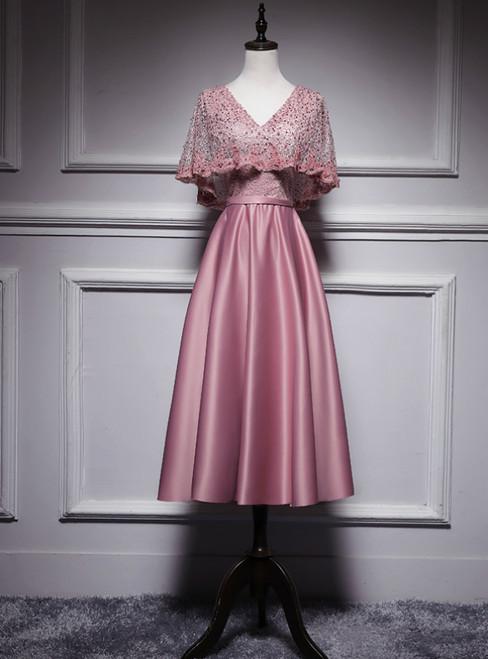 Pink Satin Lace V-neck V-neck Bat Pearls Tea Length Prom Dress