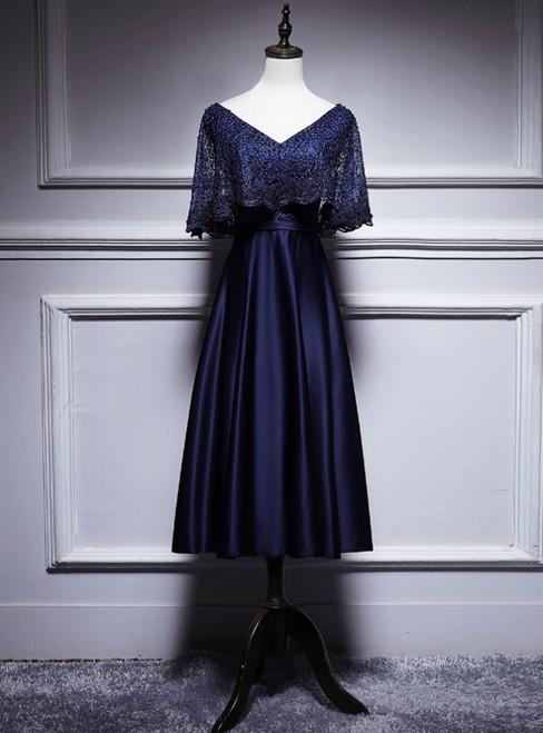 Navy Blue Satin Lace V-neck Bat Sleeve Pearls Tea Length Prom Dress