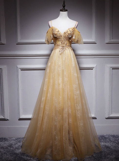 Gold Tulle Lace Sequins Appliques Backless Spaghetti Straps Prom Dress