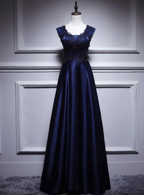 Navy Blue Satin Appliques Beading V-neck Prom Dress
