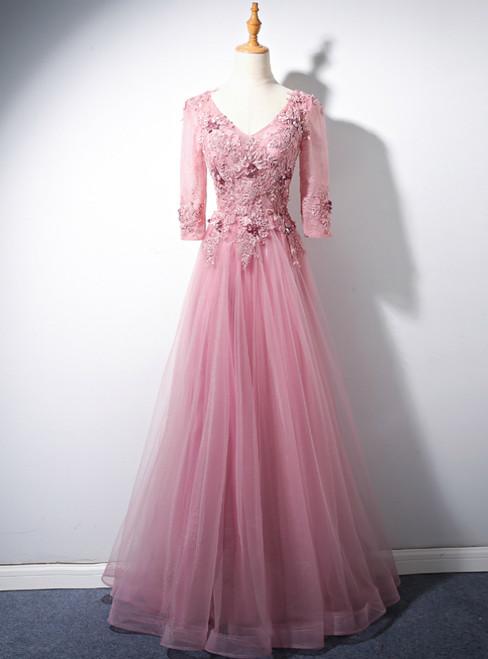 Pink Tulle V-neck Short Sleeve Appliques Beading Prom Dress