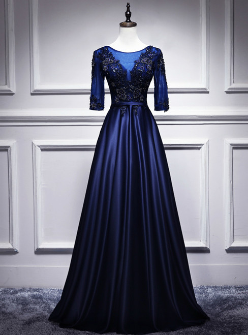 Navy Blue Satin Short Sleeve Appliques Beading Prom Dress