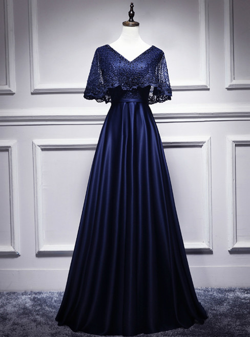 Navy Blue Satin Lace V-neck Bat Pearls Prom Dress